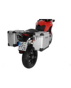 "ZEGA Pro système de coffre aluminium ""And-S"" 38/38 litres avec support acier inoxydable pour Ducati Multistrada 1200 jusqu'a 2014"