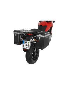 "ZEGA Pro système de coffre aluminium ""And-Black"" 38/38 litres avec support acier inoxydable pour Ducati Multistrada 1200 jusqu'a 2014"