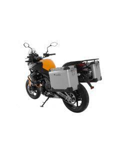 """ZEGA Pro système de coffre aluminium """"And-S"""" 38/38 litre avec support acier noir pour Kawasaki Versys 650 (2010-2014)"""