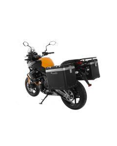 """ZEGA Pro système de coffre aluminium """"And-Black"""" 45/45 litre avec support acier noir pour Kawasaki Versys 650 (2010-2014)"""