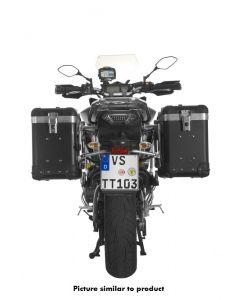 """ZEGA Pro système de coffre aluminium """"And-Black"""" 38/38 litres avec support acier inoxydable noir pour Yamaha MT-09 Tracer (2015-2017)"""